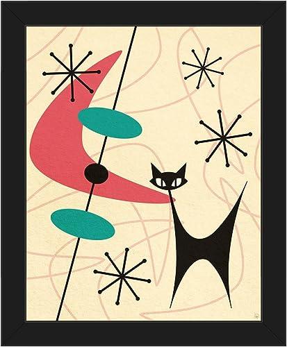 Retro Black Space Cat Boomerang Pink Mid-Century Postmodern Abstract Painting Illustration Wall Art Print on Canva