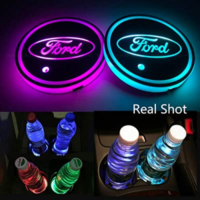 Autoxo LED Car Cup Holder Lights for F-o-r-d 7 Colors Changing USB Charging Mat Luminescent Cup Pad LED Interior Atmosphere Lamp 2Pcs: Automotive