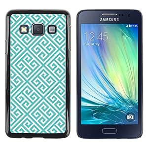 LECELL--Funda protectora / Cubierta / Piel For Samsung Galaxy A3 SM-A300 -- Blue White Wallpaper Shape --