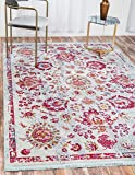 Unique Loom Baracoa Collection Bright Tones Vintage Traditional Light Blue Area Rug (4′ x 6′)