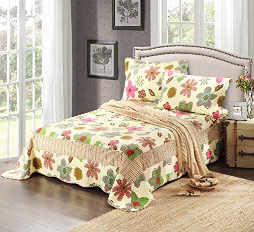Tache 3 Piece Floral Reversible Rainbow Blooms Bedspread Quilt Set, California King