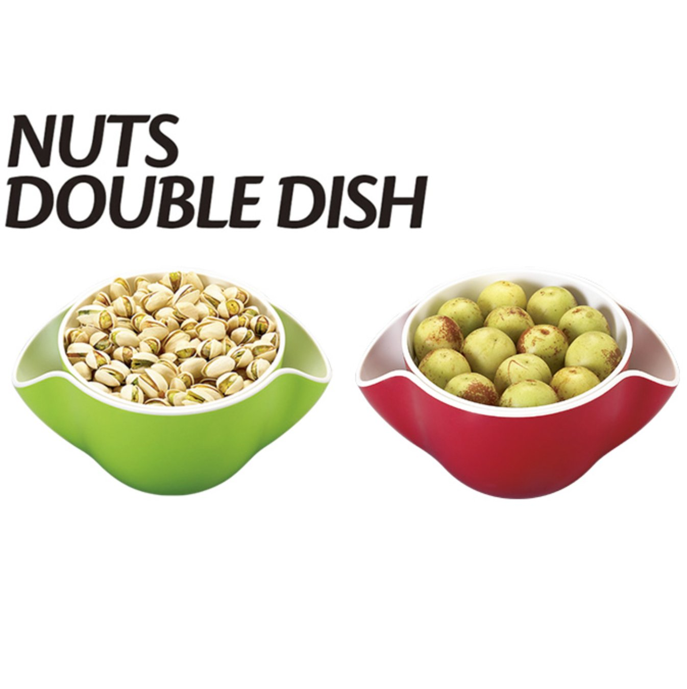 MBC Nuts Double Dish Nut Peanuts Cherries Fruits Bowls with Shell Storage for Snacks - Red