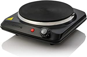 Ovente Powerful Electric Cast Iron Burner 7 Inch Single Plate with Temperature Knob, Non Slip Rubber Feet, 1000 Watts, Compact and Lightweight, Heat Up in Seconds, Easy to Clean, Black (BGS101B)