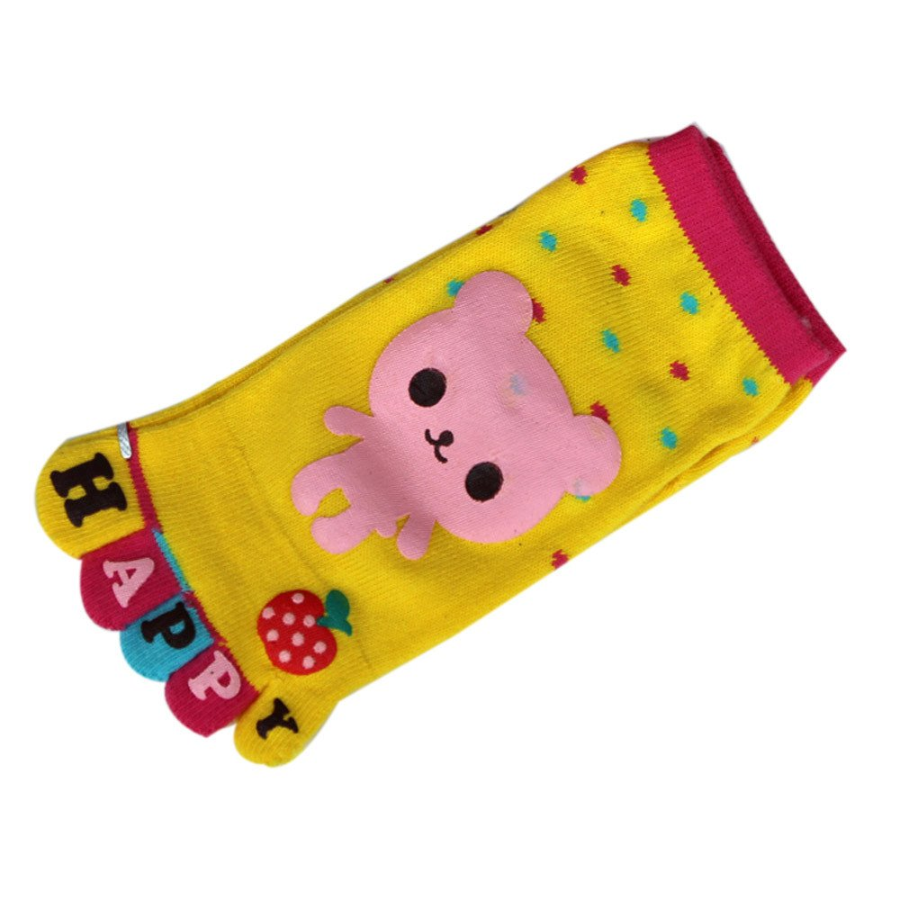 Toddler Baby Kids Toe socks Cartoon Letter Five Fingers Anti Slip Cotton Socks