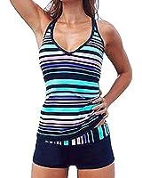 ASSKDAN Tankini Femme 2 Pieces à Rayure Multicolore Col V Maillot de bain Shorty