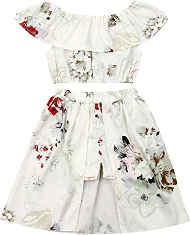 Kid Toddler Girl White Off Shoulder Crop Tops and Sunflower Wide Leg Pants Outfit Sets