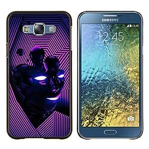 For Samsung Galaxy E7 E700 Case , Cara abstracta rosada púrpura- Diseño Patrón Teléfono Caso Cubierta Case Bumper Duro Protección Case Cover Funda