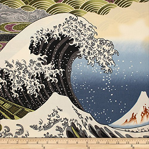 Trans-Pacific Textiles Asian Hokusai Wave Black Fabric by The Yard