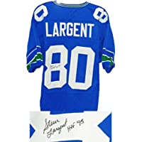 Seattle Seahawks Steve Largent Signed Blue Jersey w/HOF'95 - Schwartz Authentic photo