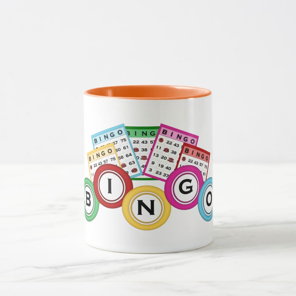 Zazzle Bingo Coffee Mug, Orange Combo Mug 11 oz