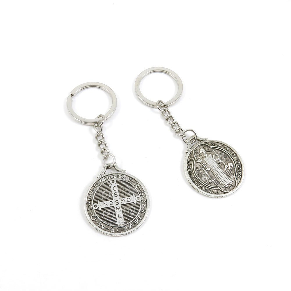 100 Pieces Keychain Door Car Key Chain Tags Keyring Ring Chain Keychain Supplies Antique Silver Tone Wholesale Bulk Lots R3IQ6 CSSML NDSMD Cross
