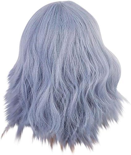 YA-Uzeun Peluca de microvolumen azul violeta con flecos ...