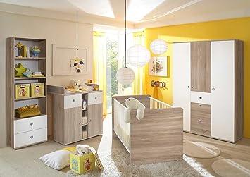 Babyzimmer Wiki 4 In Eiche Sonoma Weiss 4 Tlg Babymobel Komplett