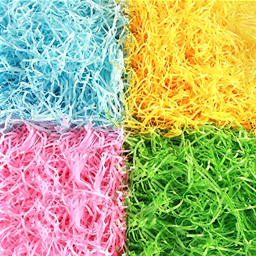 AuIhiay Easter Grass Shredded Tissue Paper Raffia Basket Shreds Crinkle Paper in Yellow, Pink, Green, Blue for Easter Decoration Hamper Filling and Gift Packaging, 200g -