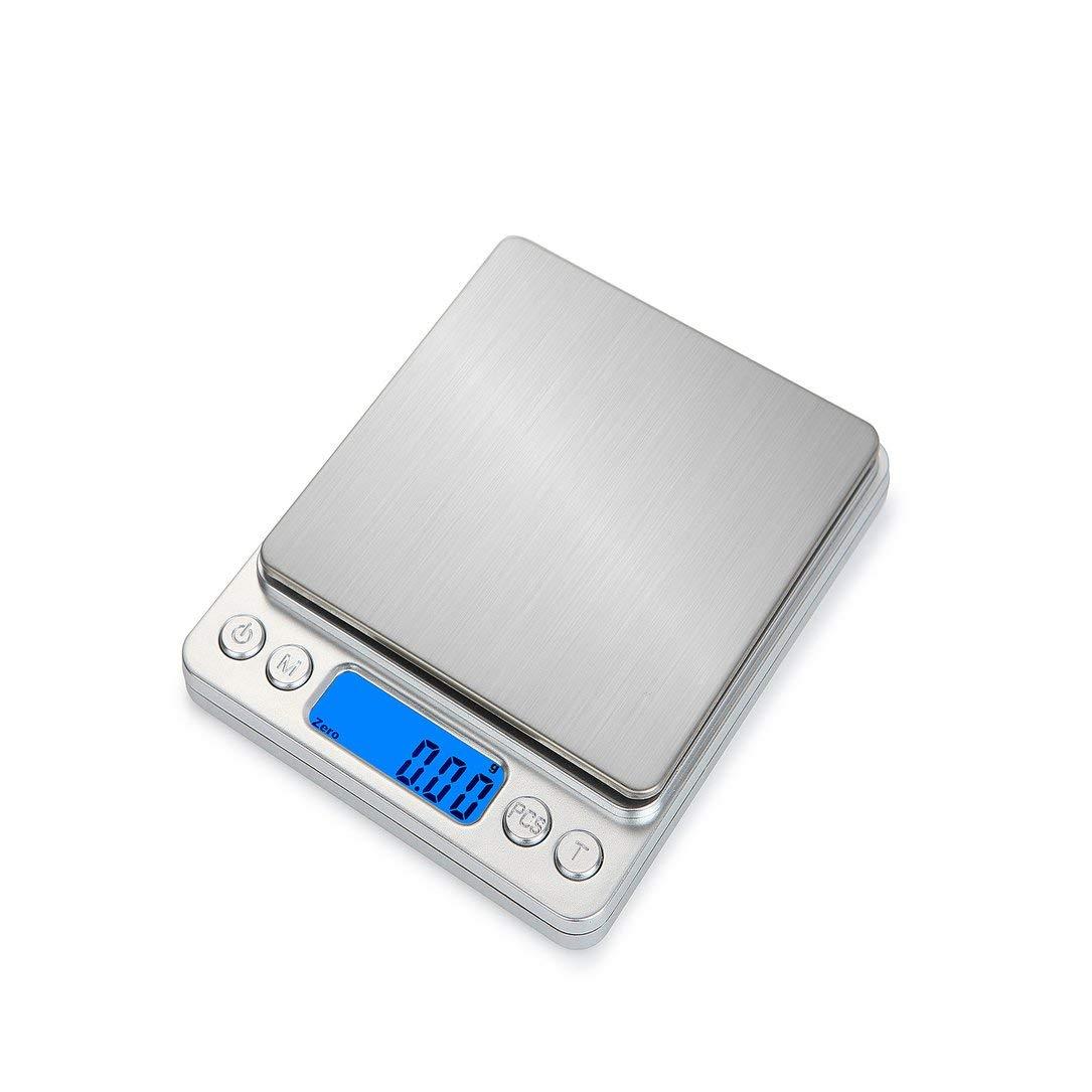 Sairis Portable Kitchen Digitalwaage Edelstahl Elektronische LCD Display Waage Schmuckwaage 2000g x 0,1g (Silber)