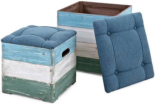 IMAX Delta Wood Crate Ottoman Multicolor