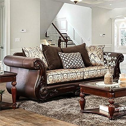 Remarkable Amazon Com Furniture Of America Milenko Faux Leather Sofa Bralicious Painted Fabric Chair Ideas Braliciousco