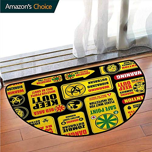 Zombie Soft Super Water Absorbent Multi-Purpose, Apocalypse Signs Attention Danger Safe Point Evil Phrase Modern Image Print Printed Door Mat Fit for Living Room W27.5 x R15.7 Inch Yellow Grey Red