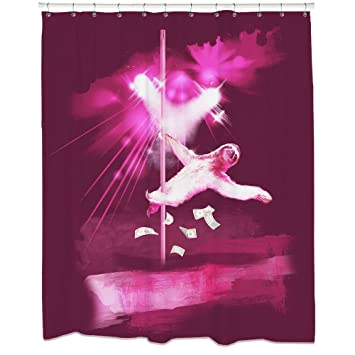 sloth pole dancing shower curtain