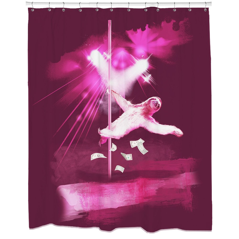 Funny Sloth Shower Curtain with Sexy Animal Art Waterproof and Mildew Resistant 12 Hooks Included