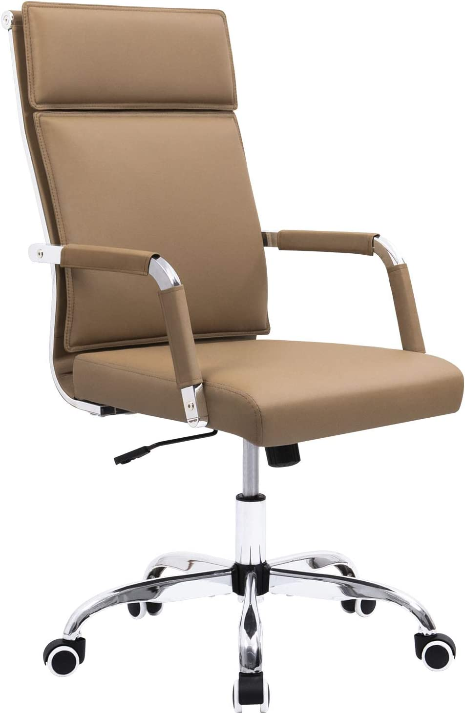Homall Office Desk Chair Mid-Back Computer Chair Leather Executive Adjustable Swivel Task Chair Conference Chair with Armrests Brown