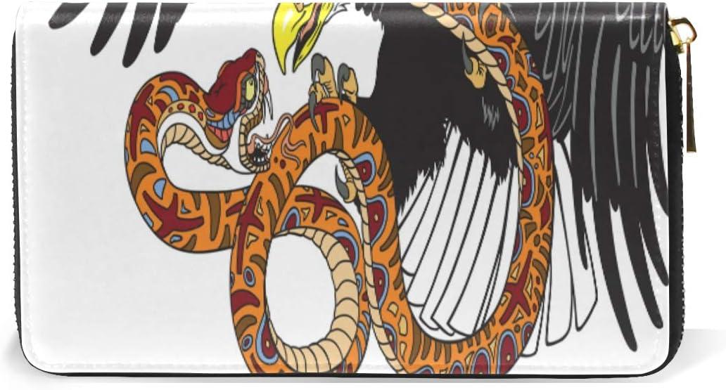 BKEOY Portefeuille Long en Cuir v/éritable avec Fermeture /éclair Motif aigles et Serpent