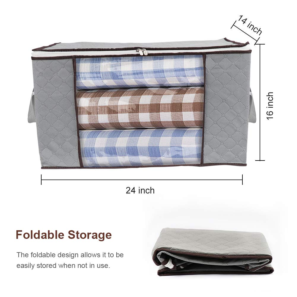 Foldable Storage Bag,BS Large Foldable Clothes Organizer Bedrooms Closets Clothes Great for Comforter Blankets and More
