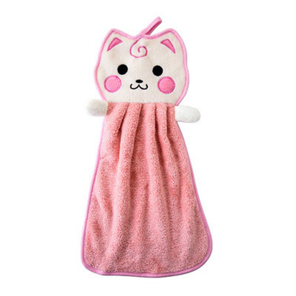 Cartoon Thickened Towel Kitchen Hanging Water Towel Kitchen (Pink)