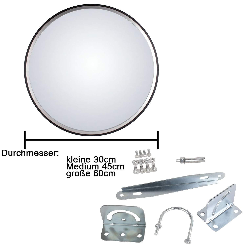 ef30840e74 Espejo de Seguridad Espejo de la Vigilancia Panorámica Espejo Convexo  Policarbonato Tráfico 45CM Negro: Amazon.es: Bricolaje y herramientas