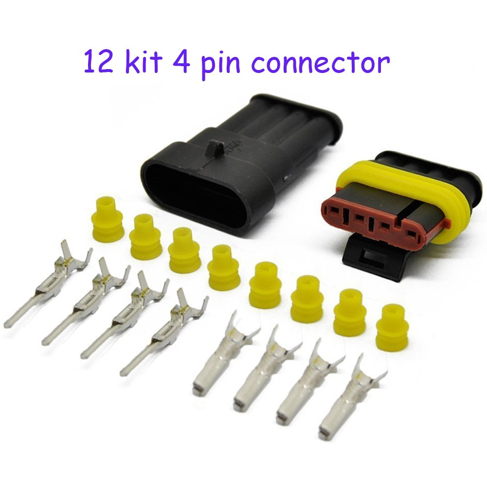 HIFROM 12 Kit 4 Pin Way Waterproof Electrical Connector 1.5mm Series Terminals Heat Shrink Quick Locking Wire Harness Sockets 20-16 AWG by HIFROM