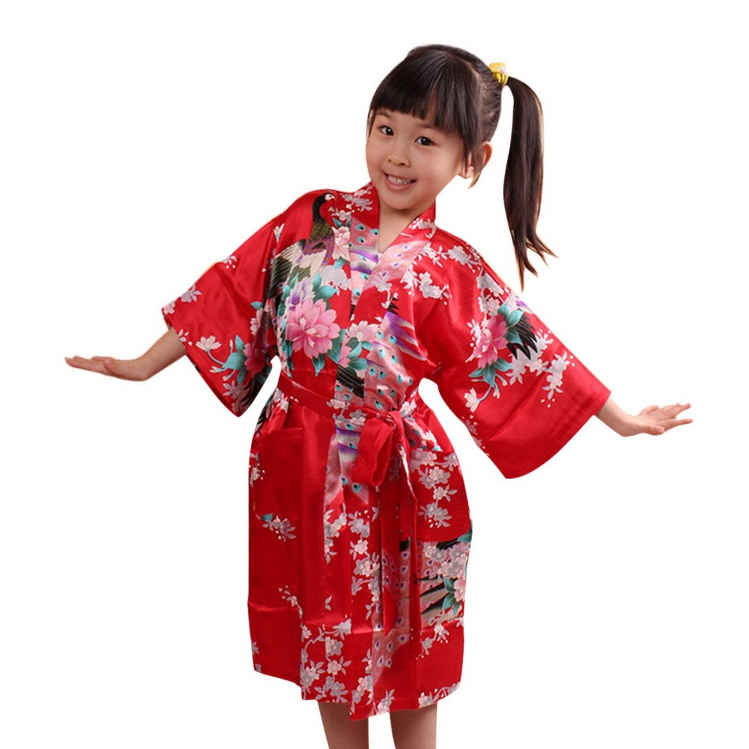 Feoya Girls' Kimono Silk Bathrobe Kids Nightgown for Spa Party Wedding Birthday YG9FS2268