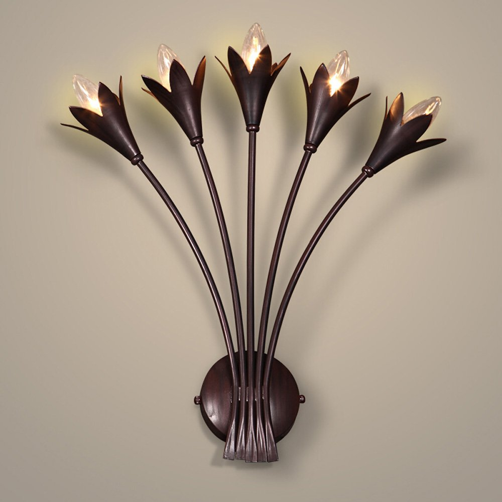 Iron Flower Wall Lamp American Retro Style Lighting Living Room Background Wall Aisle Bedside Head Wall Lights