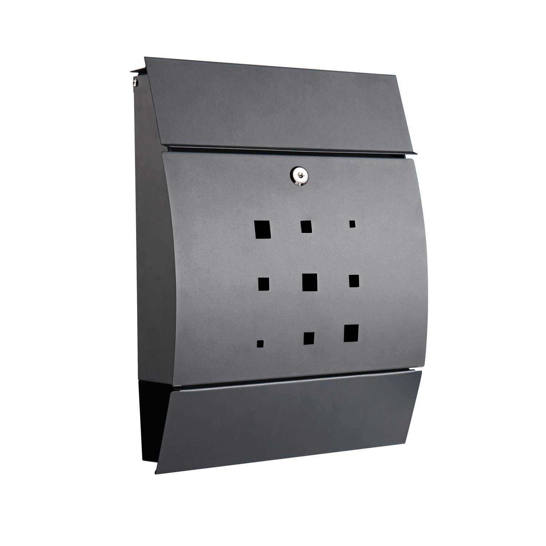 ELINKUME Lockable Front Door Wall Mounted Mailbox - Stainless Galvanized Steel Waterproof Drop Box - Anthracite Black