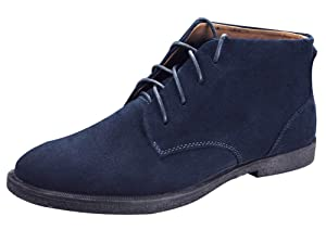 PhiFA Men's Suede Leather Ankle Chukka Boots Lace-ups Flat Heels US Size 7.5 Blue