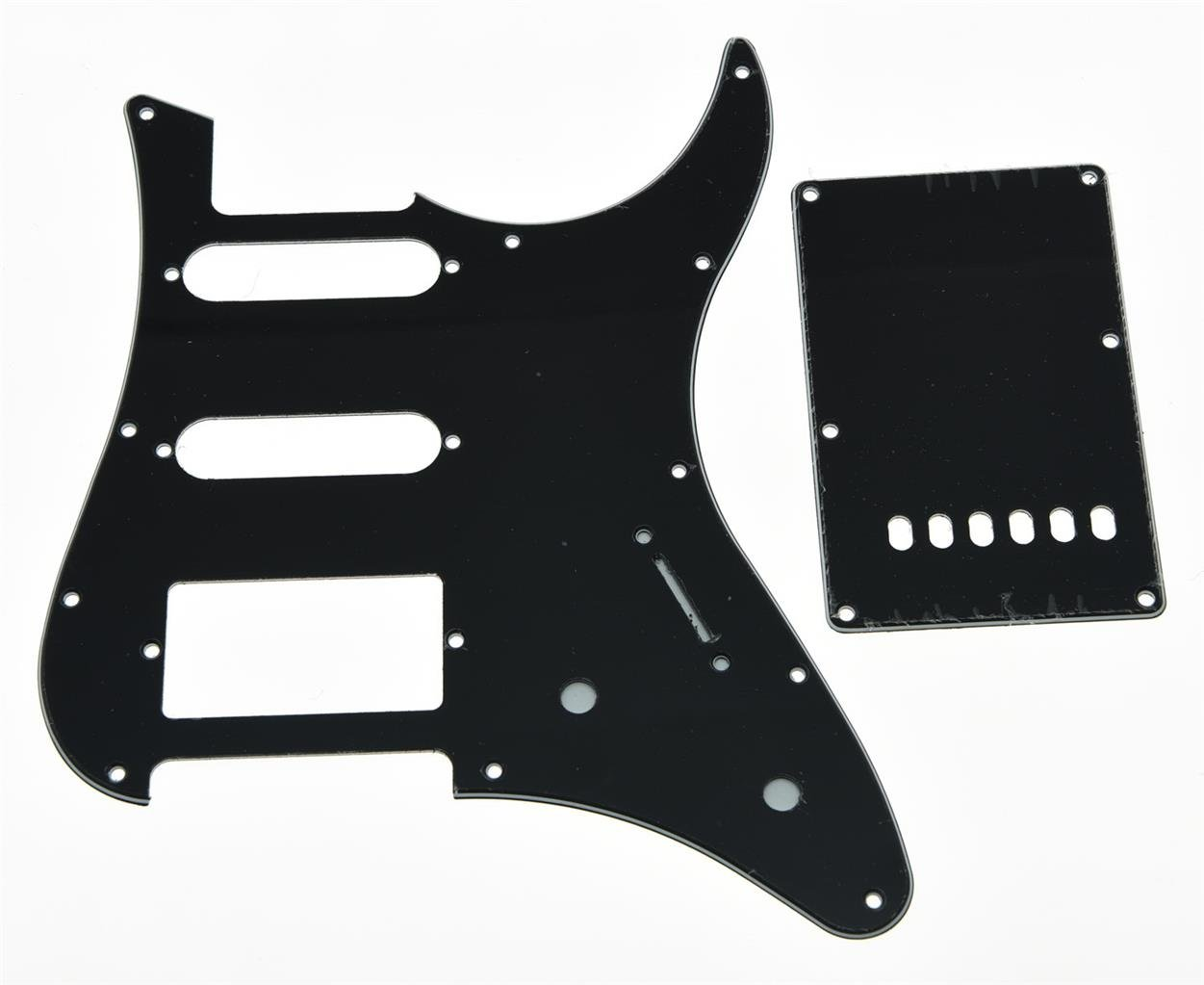 KAISH Guitar HSS Pickguard and Tremolo Trem Cover Back Plate fits Yamaha PACIFICA Guitar Black 3 Ply
