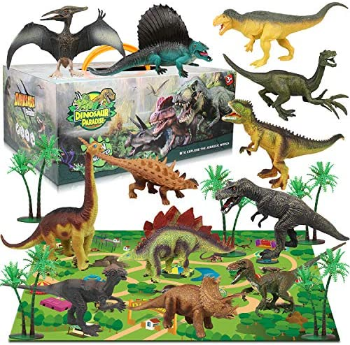 Dinosaur Figure Toys Set12Pcs Realistic Dinosaur Figures 31.5 x 27.5 Inch Large Flannel Activity Play Mat & Trees Indoor Outdoor Educational Playset Toys for 3456 Years Old Kids Boys&Girls