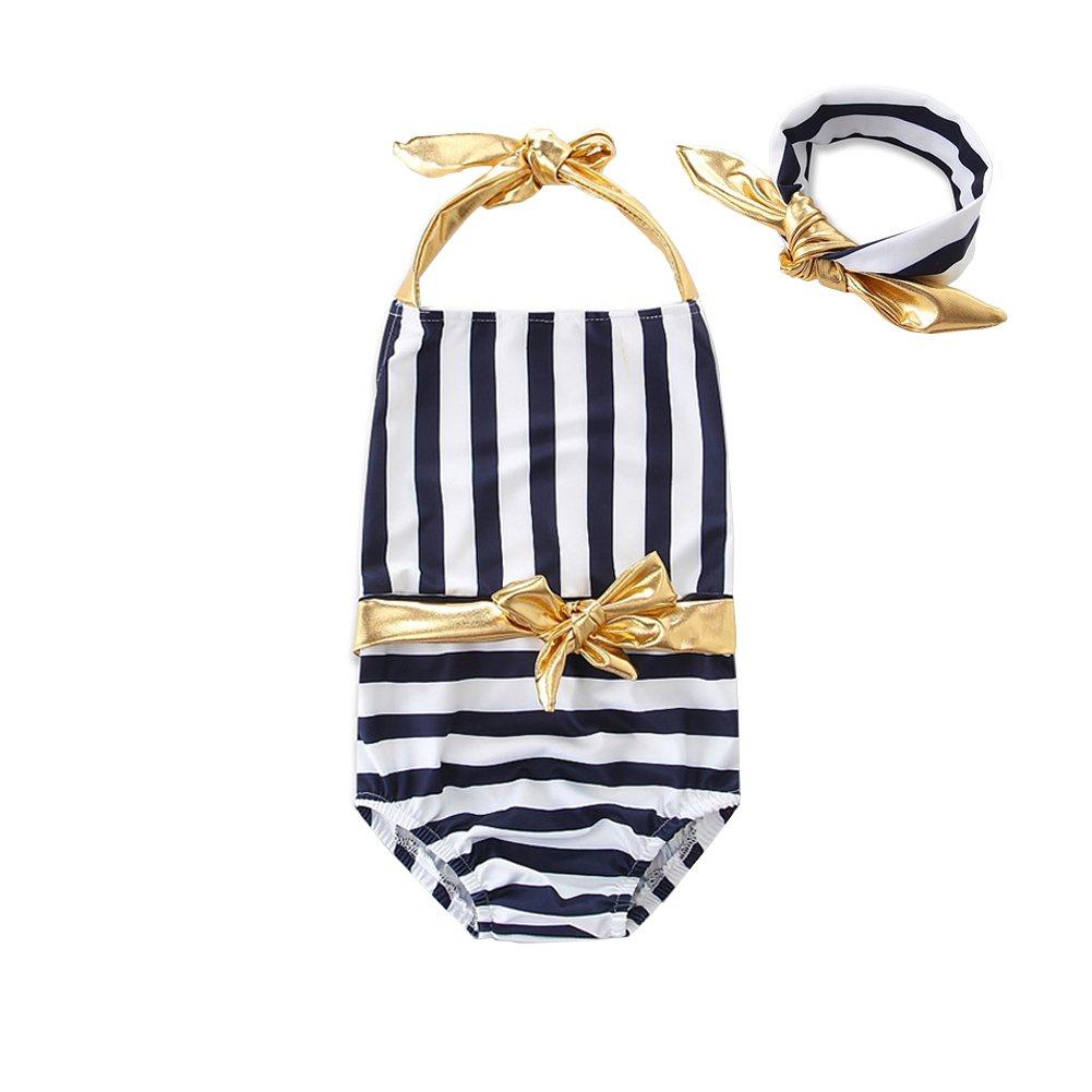 SCFEL Vestito di bagno di Swimwear di un pezzo del Halter dell'arco della banda dei bambini della neonata di con la fascia