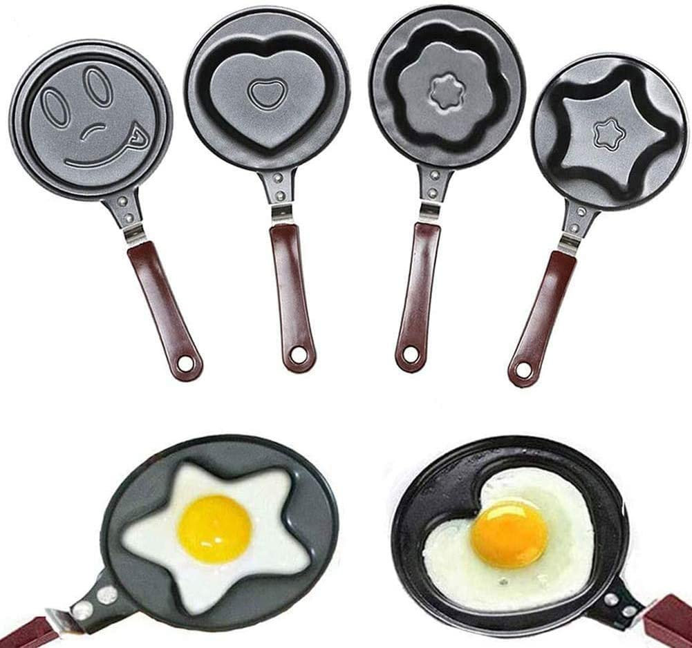 Egg Frying Pan, 4PCS Non Stick Egg Cooker Mini Pan for Breakfast Home Cooking, Innovative & Elegant Design for Gas Stove & Induction Cooker