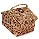 Portable Wicker Picnic Basket Camping Outdoor Travel Food Blanket Storage
