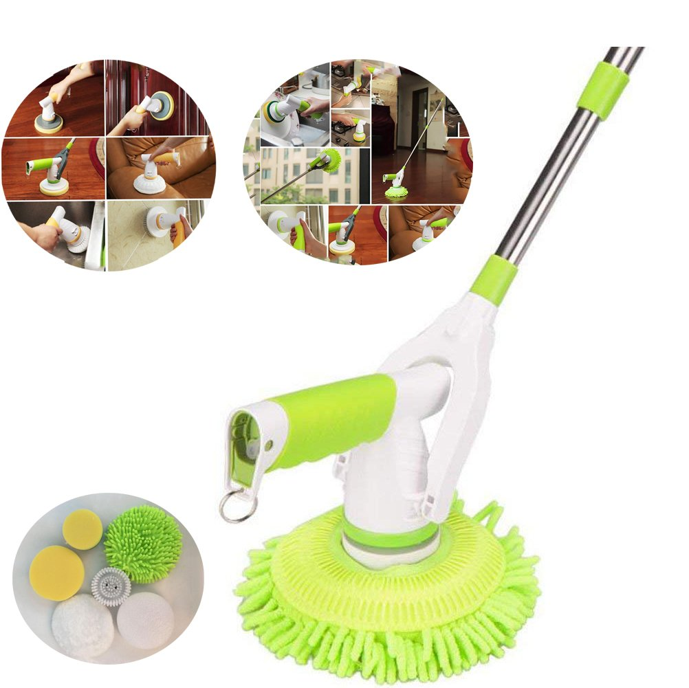 Uhruolo Electric Rotary Mop,Upgraded Version Wireless Rechargeable Handheld Telescopic Spinning Mop with 6 Brush Heads for Cleaning The Car, Washing The Windows, Polishing The Floor Mopping Machine