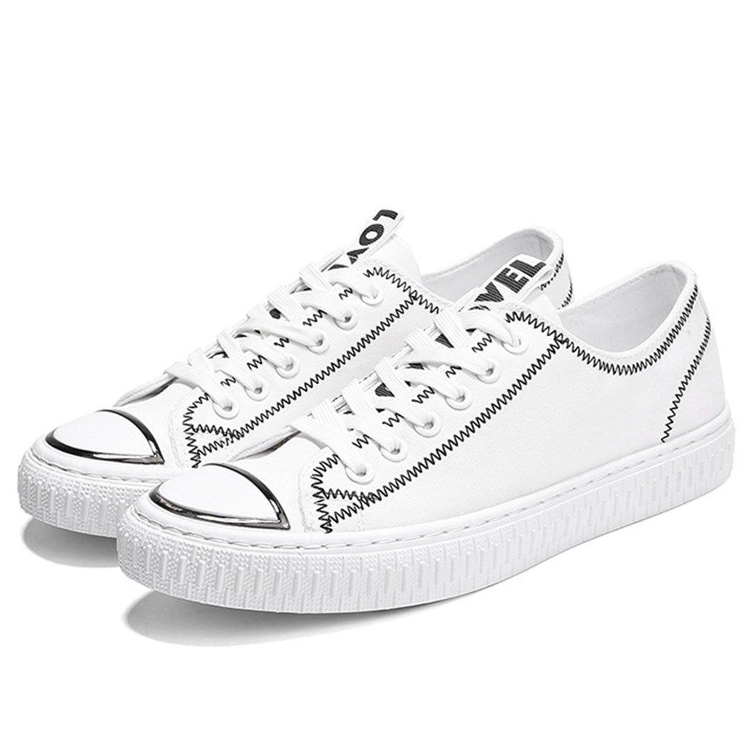 GAOLIXIA Zapatos de Hombre Zapatos de Lona Trend Classic Zapatos Deportivos Ocasionales Ocasionales Zapatos de Skate para Estudiantes Negro Rojo Blanco (Color : Blanco, Tamaño : 40) 40|Blanco