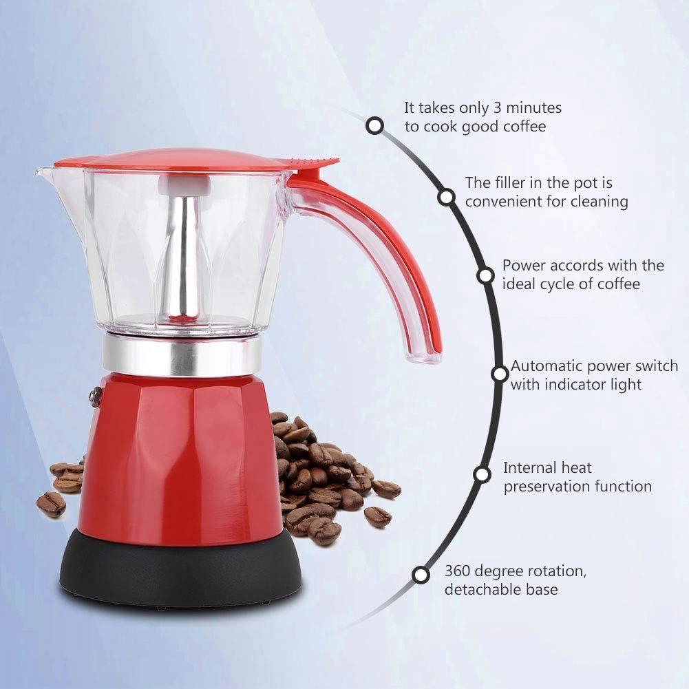 Caffettiera per caff/è espresso portatile Moka 300 ml//6 tazze 480 W Moka elettrica Pentola da cucina staccabile Caffettiera Rosso
