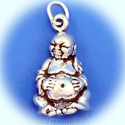Vintage Sterling Silver Buddha Charm Pendant
