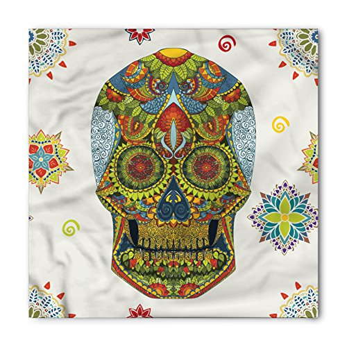 Lunarable Unisex Bandana, Day Of The Dead Ethnic Skull Mask, Green Blue ()