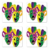 Best Ambesonne Masquerade Masks - Ambesonne Mardi Gras Coaster Set of Four, Traditional Review