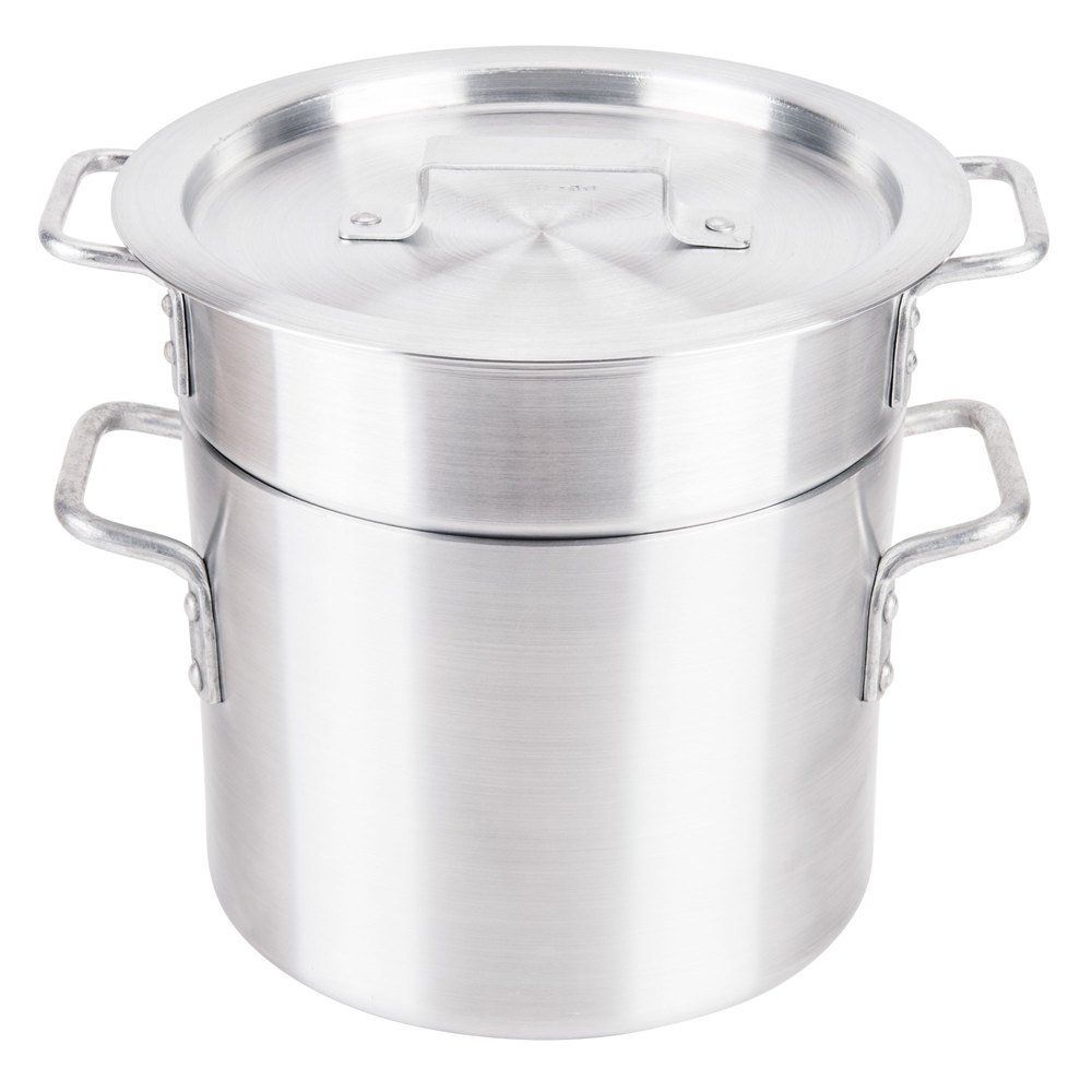 Royal Industries Double Boiler with Lid, 8 qt, 9'' x 7.3'' HT, Aluminum, Commercial Grade - NSF Certified