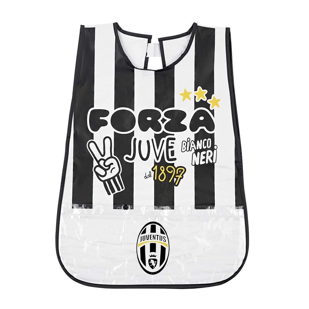 Tablier Enfant Juventus FC - Blouse Officielle Juve Garçon Impermeable PVC avec poche avant - Adapté pour protéger des taches et peinture - Blanc et Noir - 3/5 Ans - Perletti 15068A