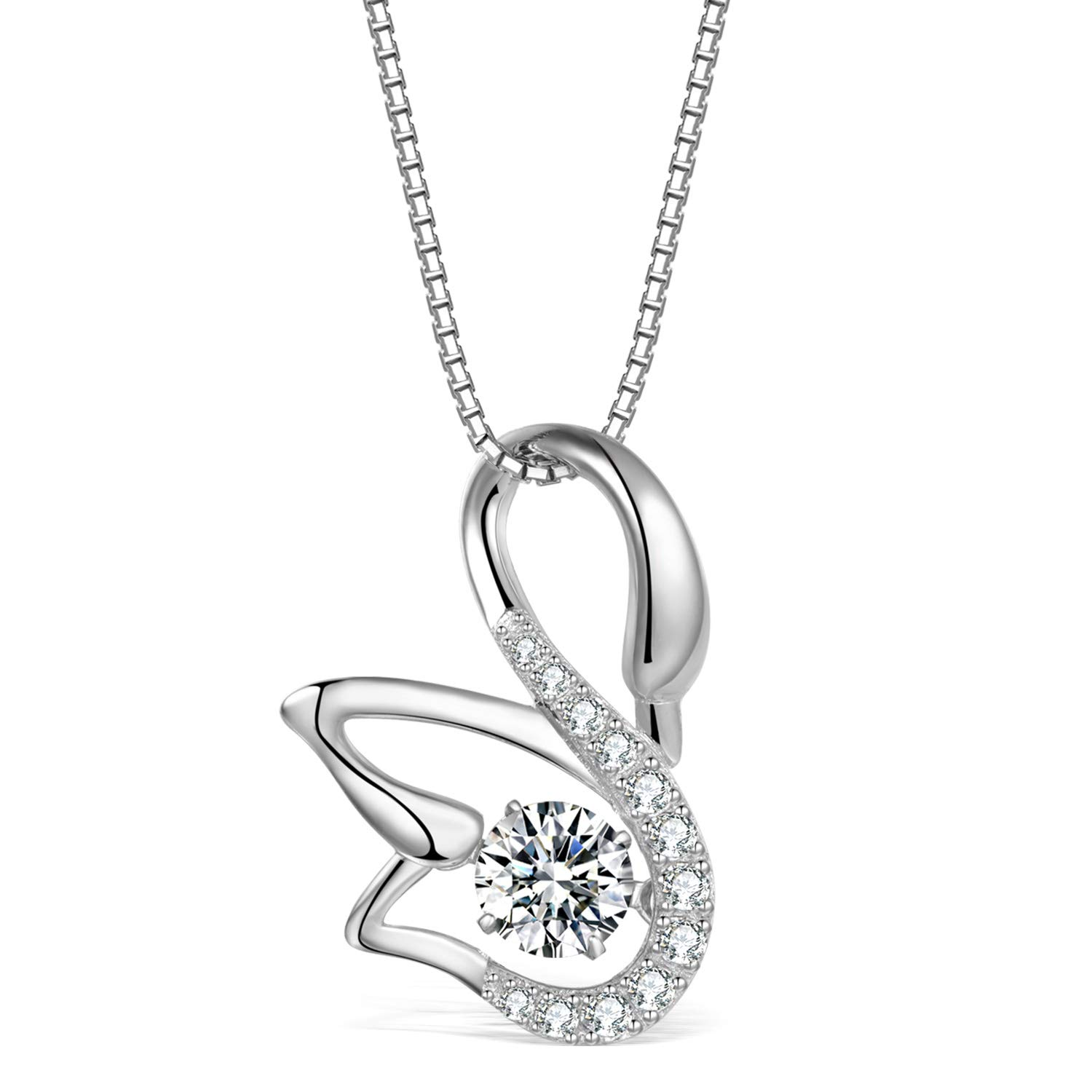 Sterling Silver Cubic Zircon Cute Fox Design Pendant With Necklace Chain 18/'/'