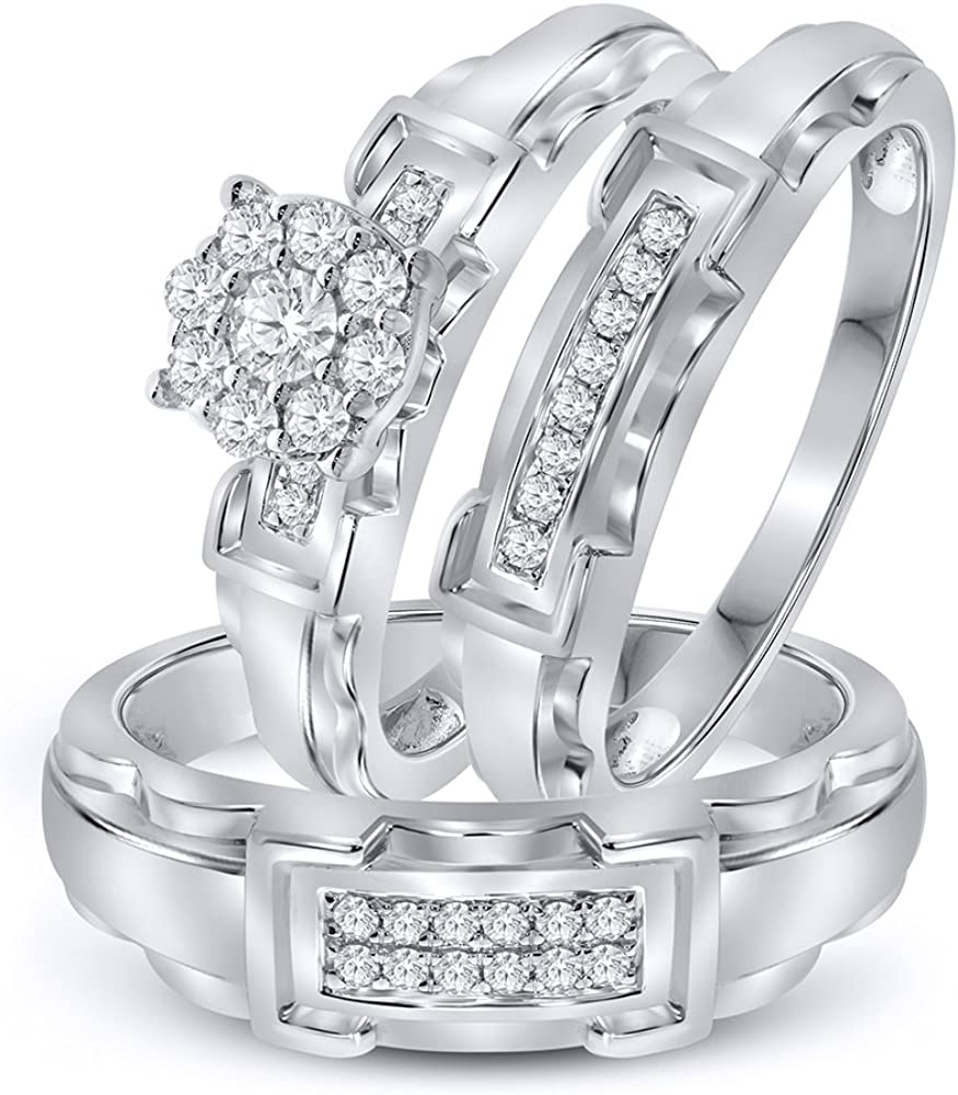 Avg. 9.3 g 2.32 ctw Simulated Diamond Men/'s Ring in 925 Sterling Silver