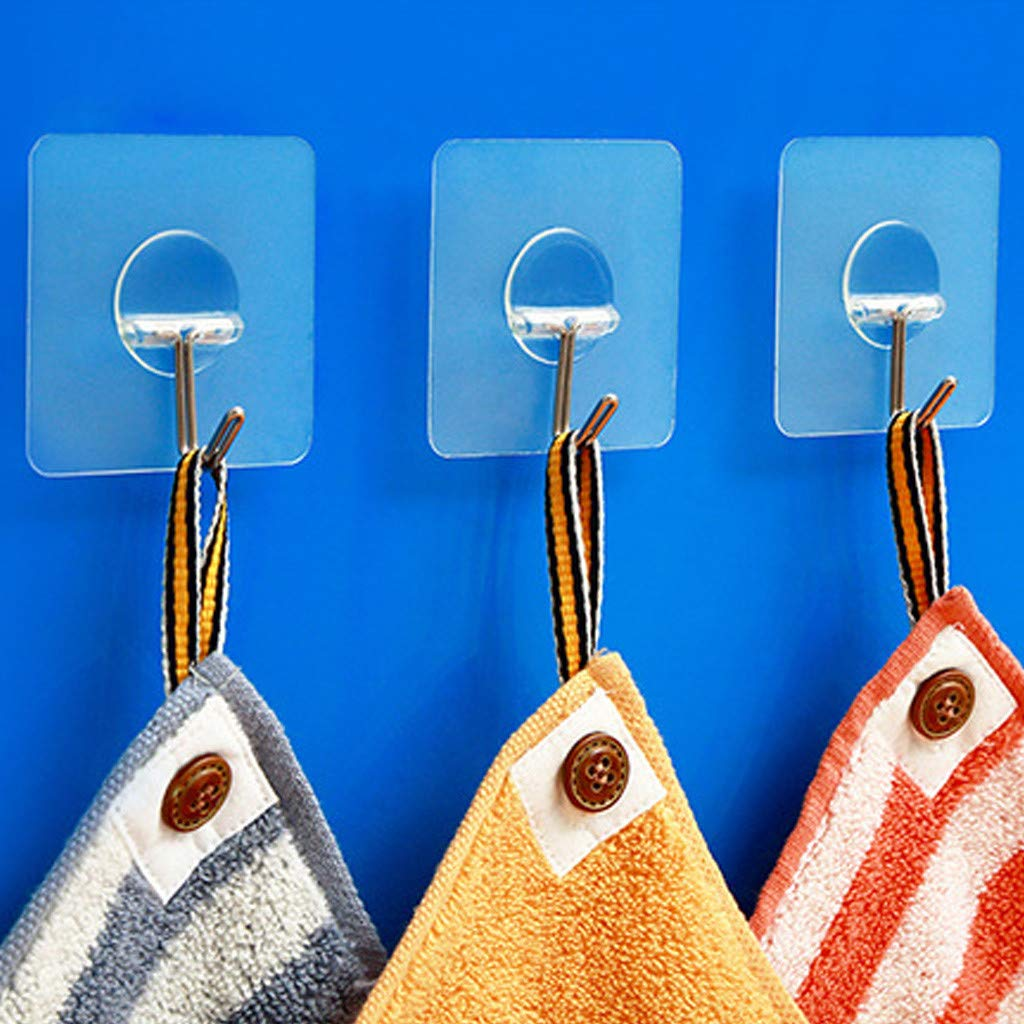 Denzar Wall Hooks,Transparent Reusable Seamless Hooks,Bathroom Kitchen Heavy Duty Self Adhesive Hooks-Waterproof and Oilproof (Pack of 4)